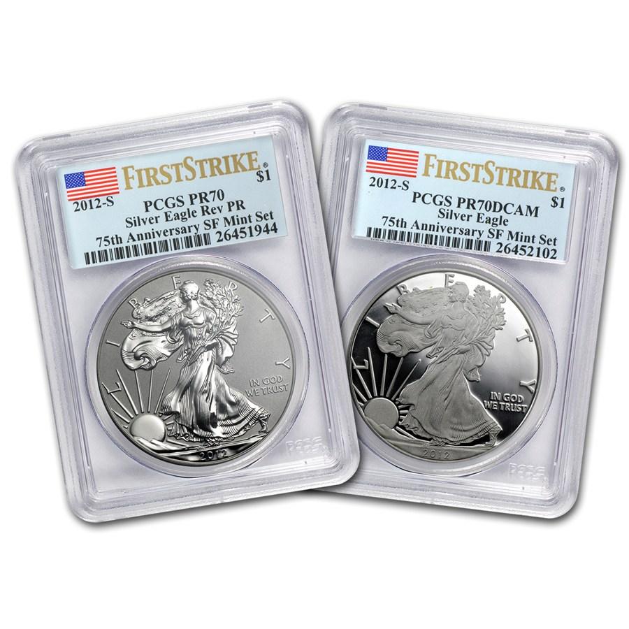 2012 S 2 Coin Silver Eagle Set Pr 70 Pcgs Fs 75th Anniv