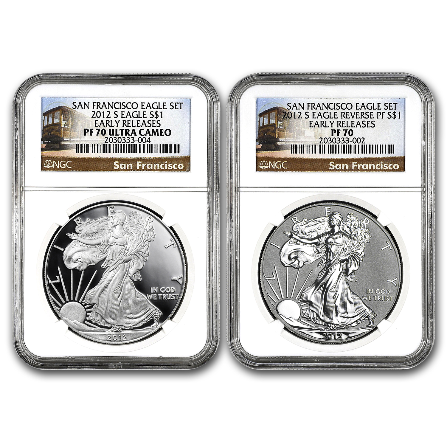 2012-S 2-Coin Proof Silver Eagle Set PF-70 NGC (ER, 75th Anniv)