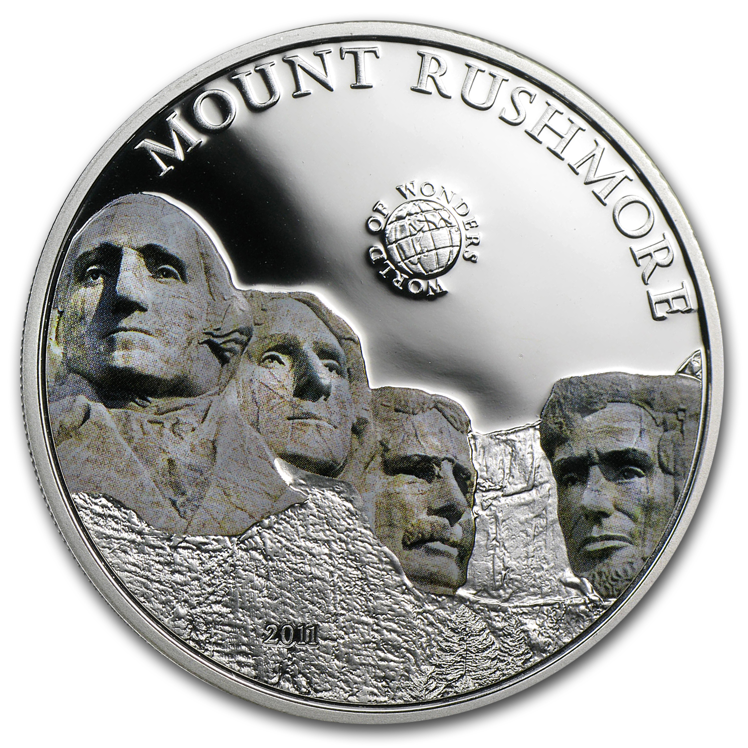 2011 Palau Proof Silver $5 World of Wonders Mount Rushmore