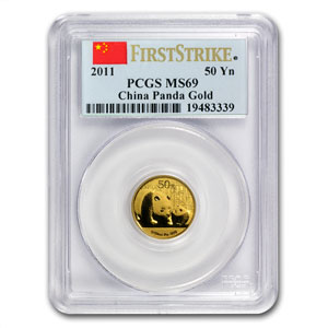 2011 (1/10 oz) Gold Chinese Panda - MS-69 PCGS First Strike