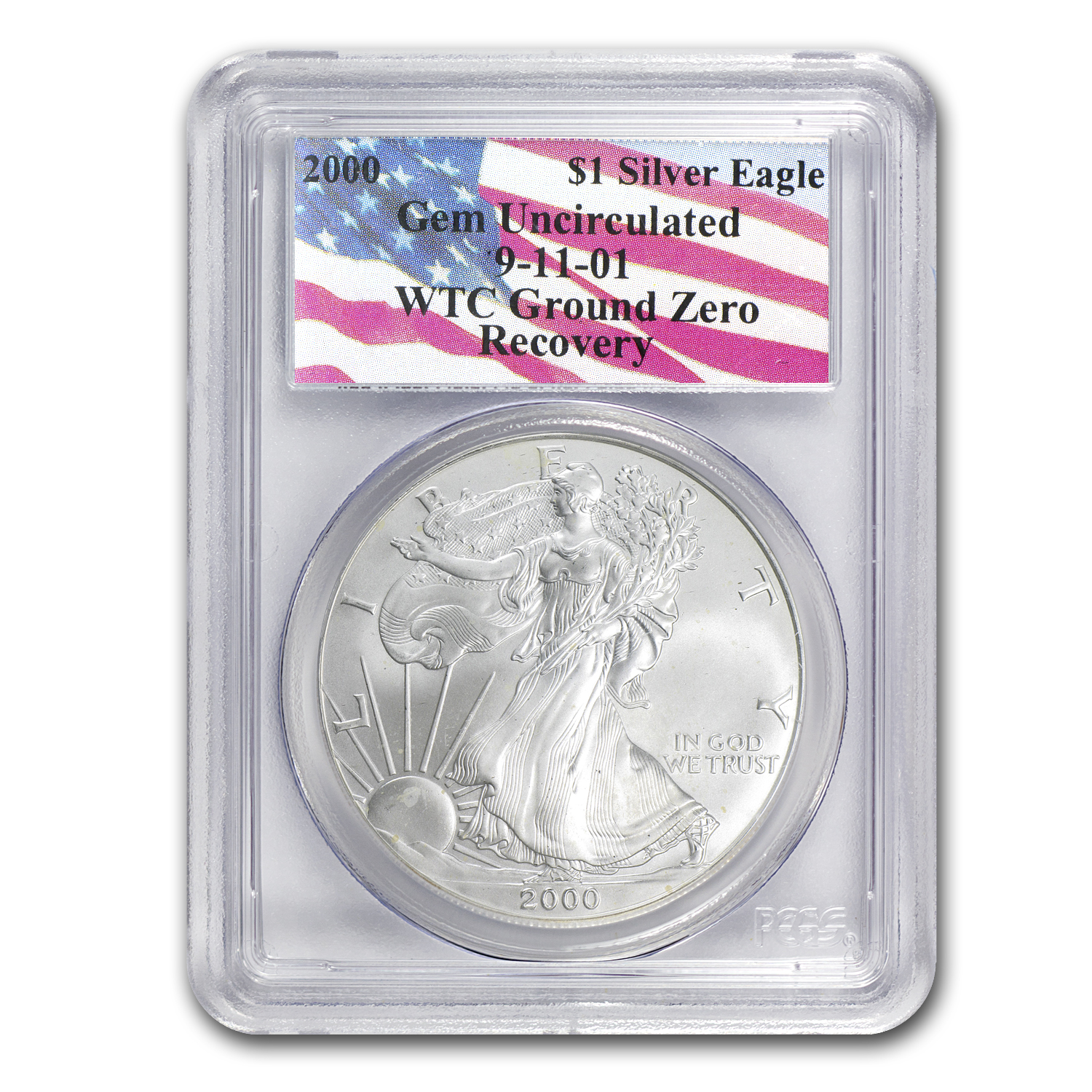 2000 Silver Eagle - Gem Unc PCGS - WTC Ground Zero Recovery