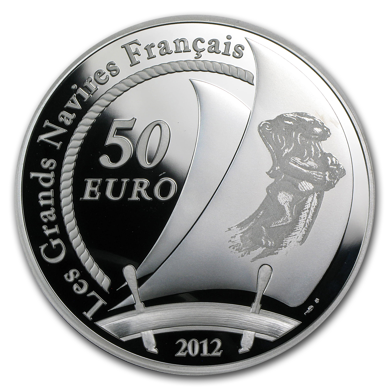 2012 50 Euro 5 oz Silver Proof Great French Ships - The Hermione