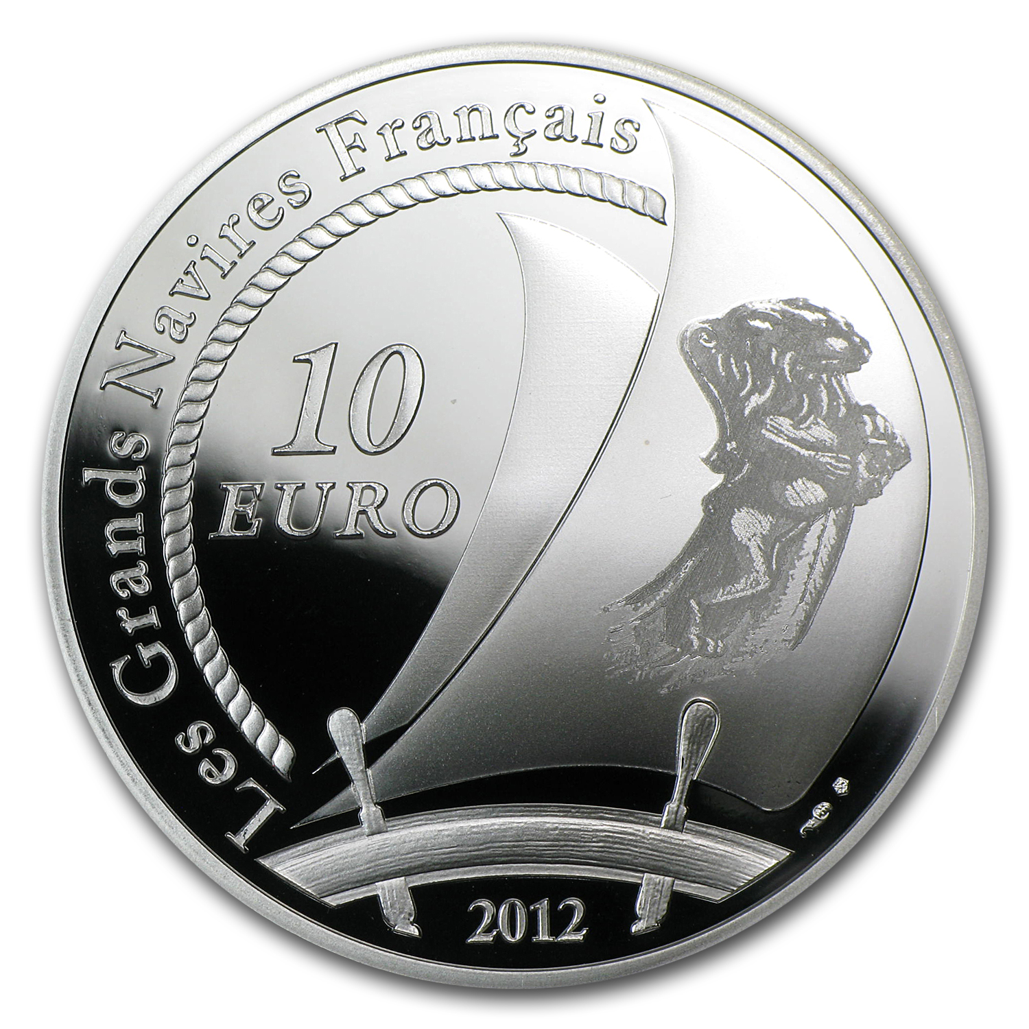 2012 Silver €10 Great French Ships Proof (The Hermione)