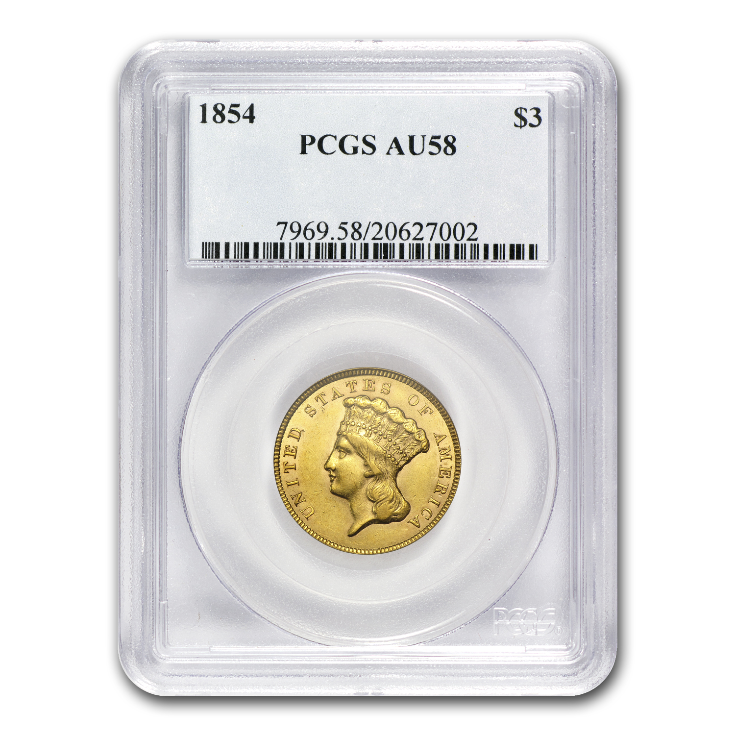 1854 $3 Gold Princess AU-58 PCGS