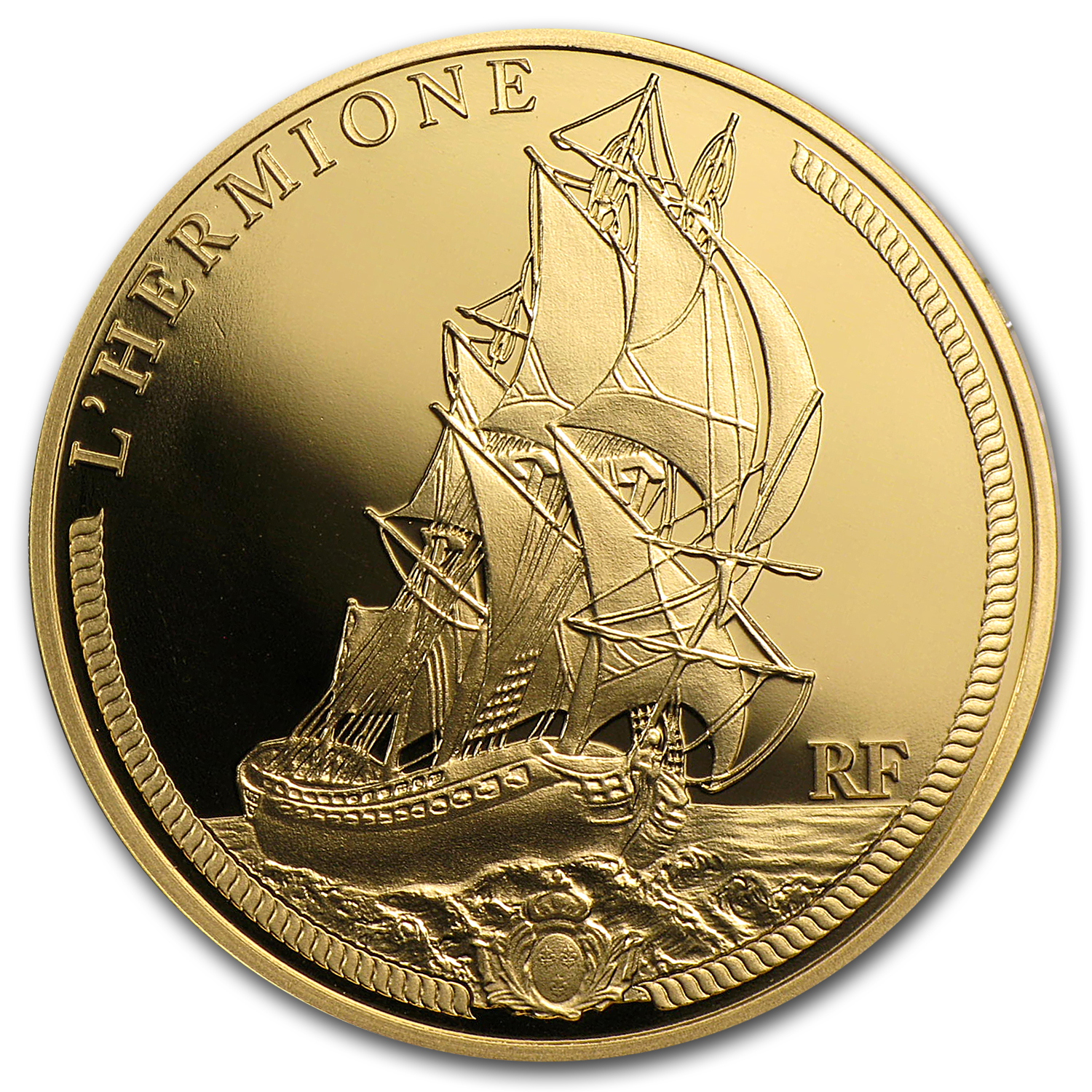 2012 €50 1/4 oz Gold Proof Great French Ships - The Hermione