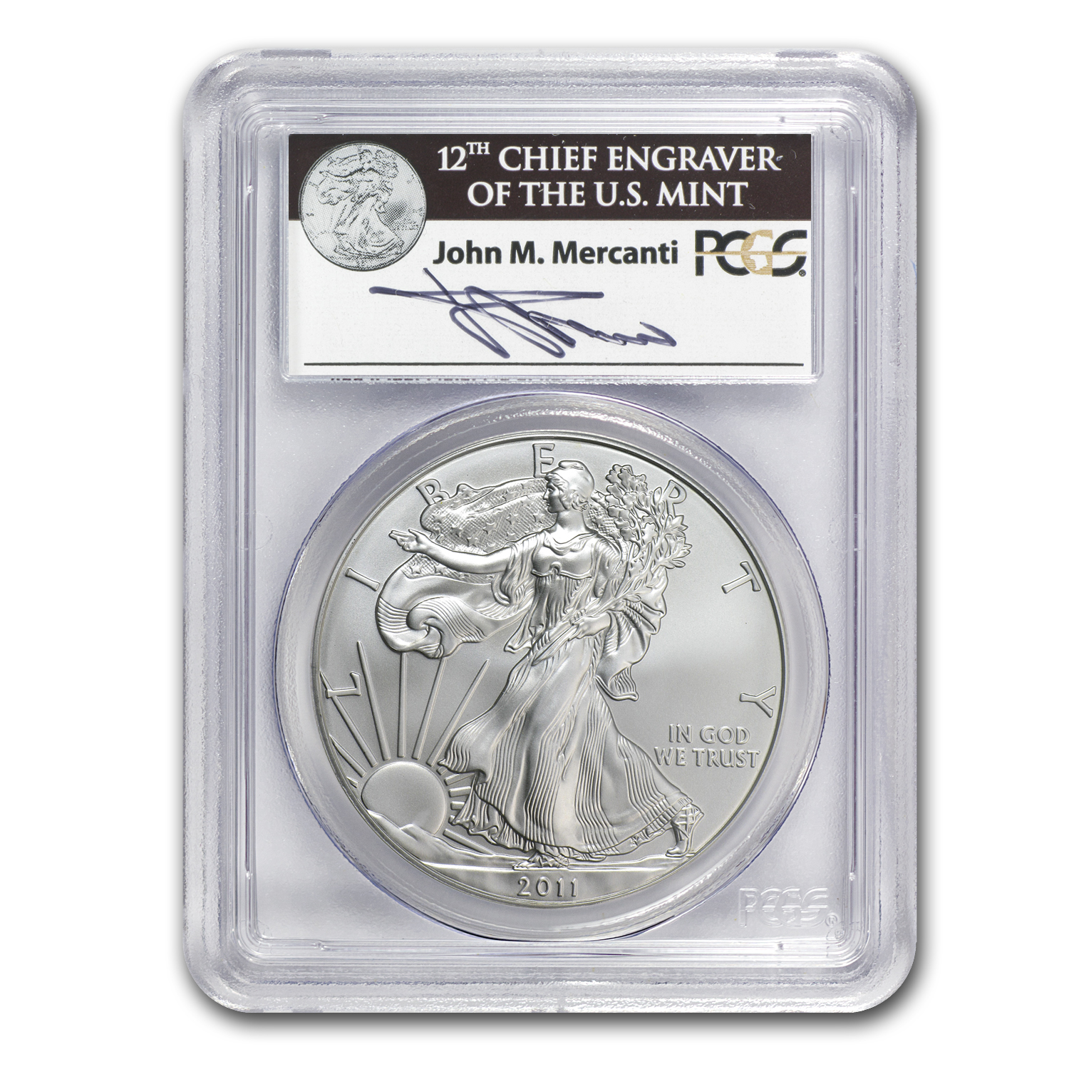 2011-S Silver Eagle MS-70 PCGS (FS, 25th Anniv, John Mercanti)