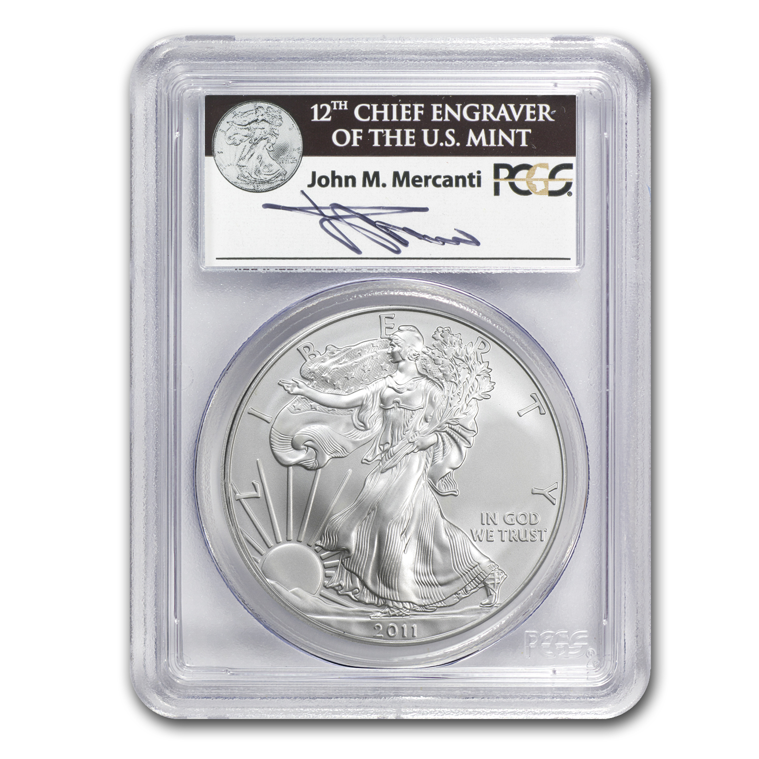 2011 Silver Eagle MS-70 PCGS (FS, 25th Anniv, John Mercanti)