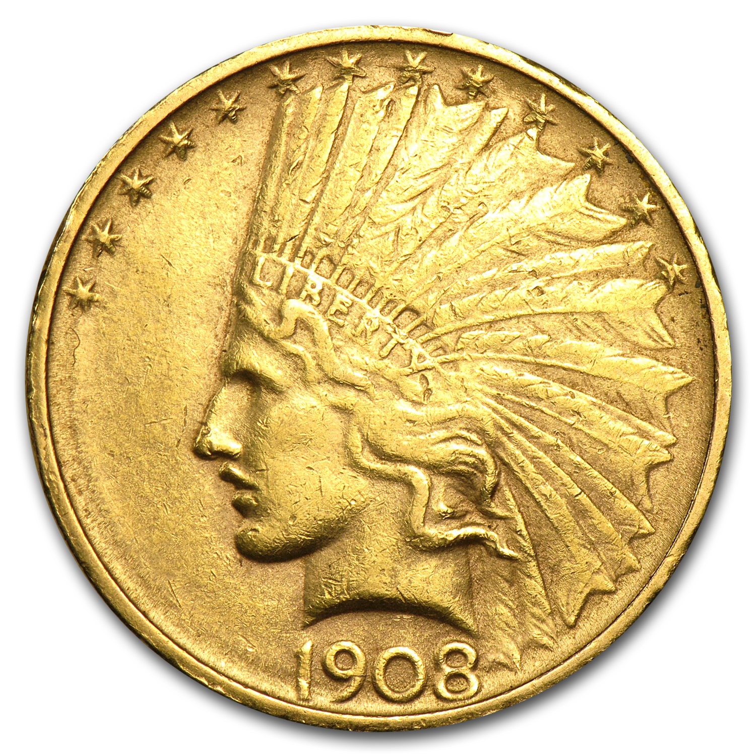 1908-D $10 Indian Gold Eagle No Motto AU