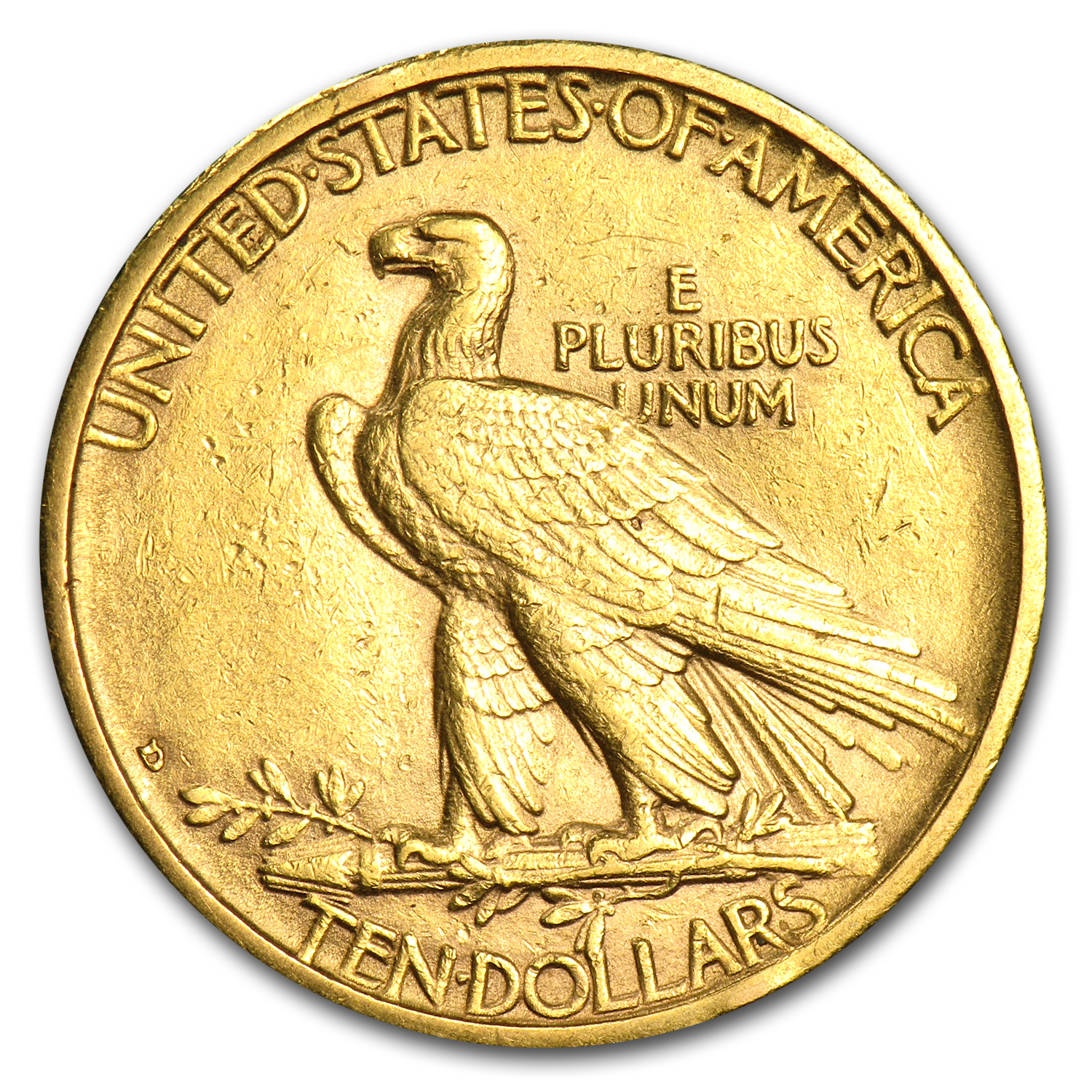 1908-D $10 Indian Gold Eagle - No Motto - Almost Uncirculated