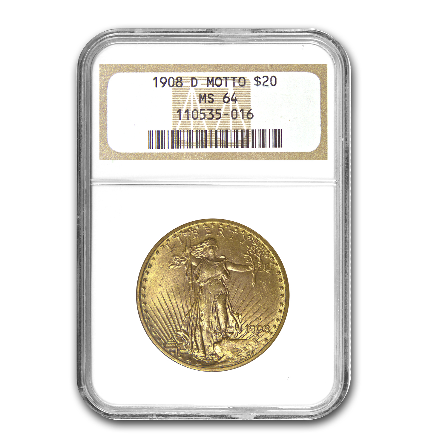 1908-D $20 St. Gaudens Gold - With Motto - MS-64 NGC