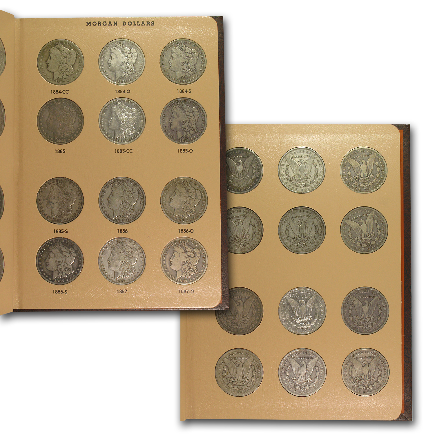 1878-1921 95-Coin Morgan Dollar Set VG (2 Dansco Albums)
