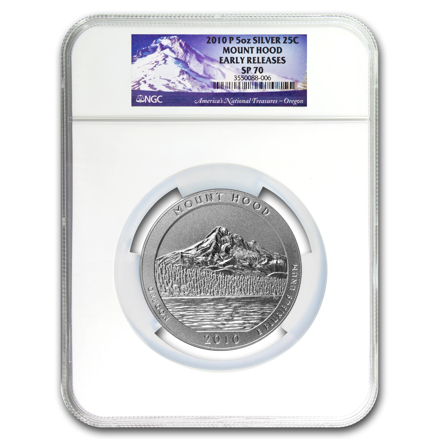 2010-P 5 oz Silver ATB Mount Hood NGC SP-70 Early Releases