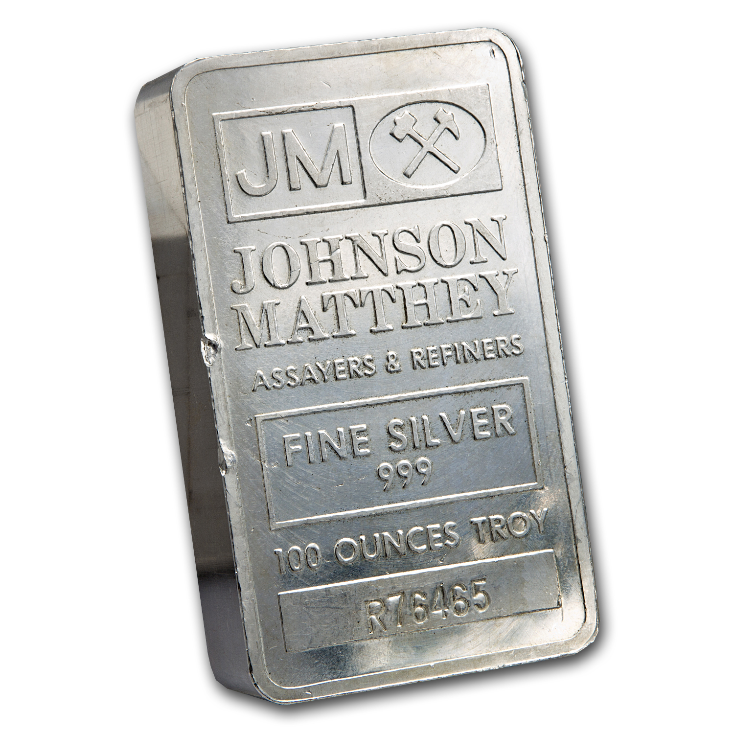 100 oz Silver Bar - Johnson Matthey (Pressed/Scruffy)