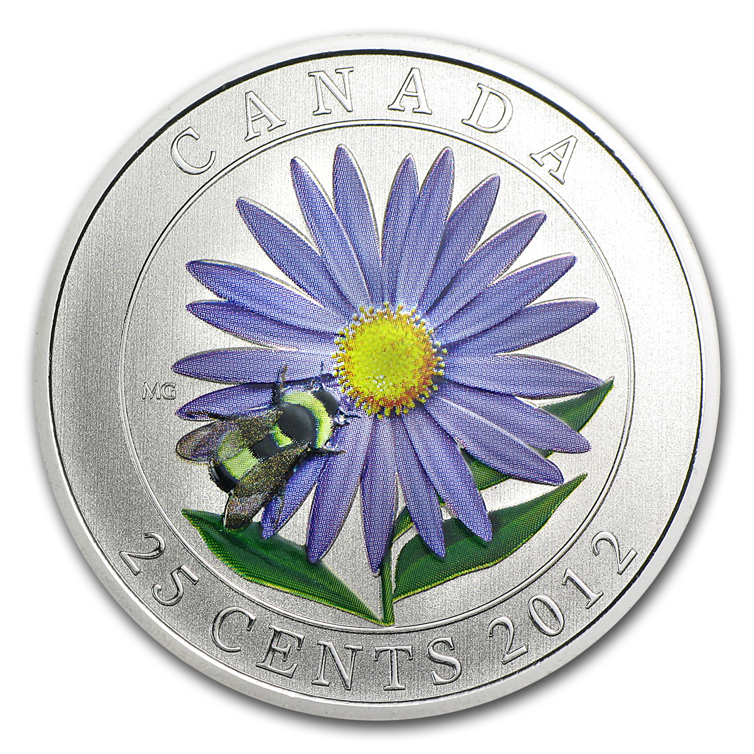 2012 Canadian $0.25 Aster & Bumblebee (Coloured)