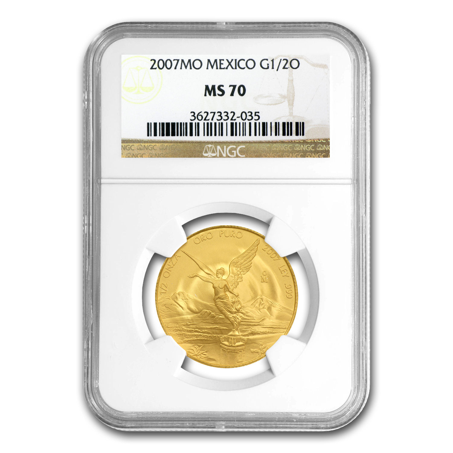 2007 1/2 oz Gold Mexican Libertad MS-70 NGC