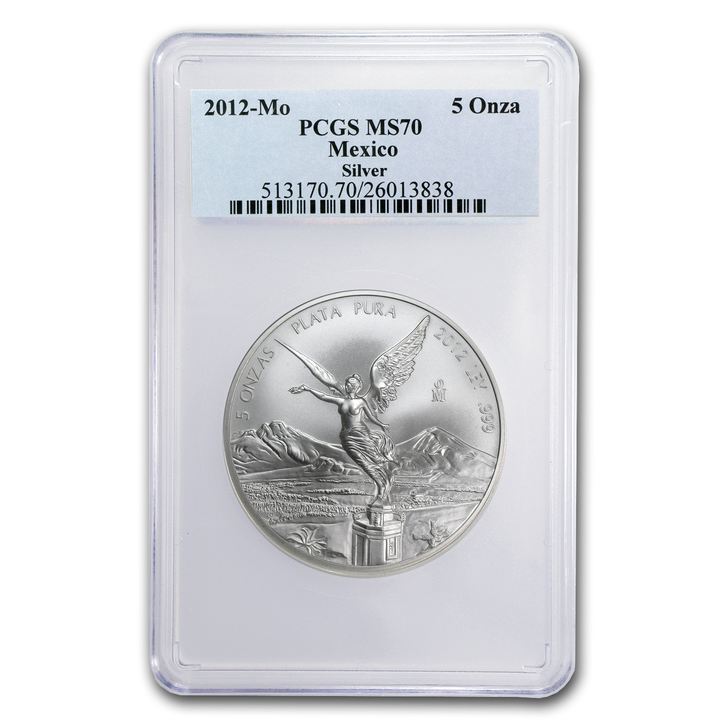 2012 5 oz Silver Mexican Libertad MS-70 PCGS