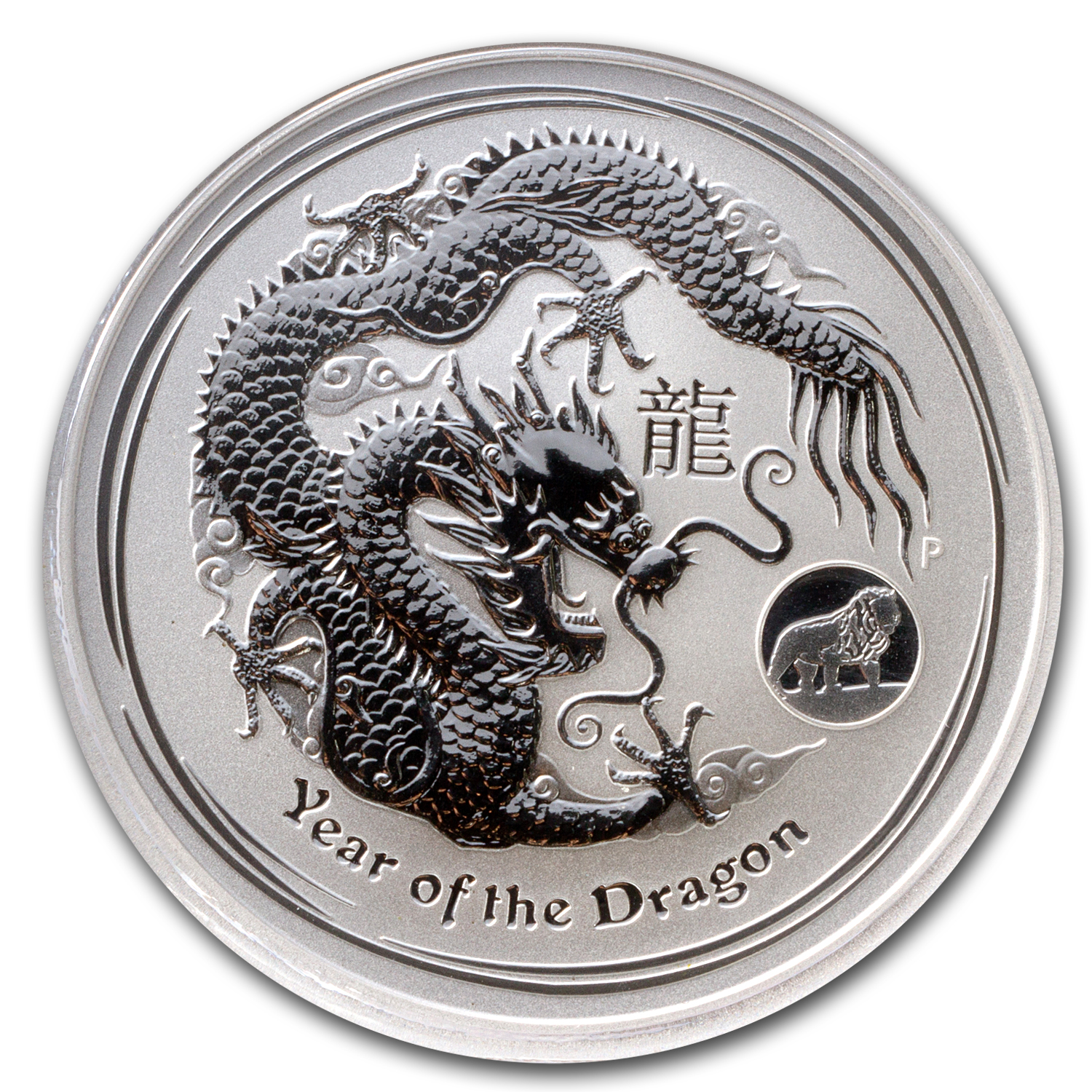 2012 Australia 1 oz Silver Dragon MS-70 PCGS (Lion Privy)