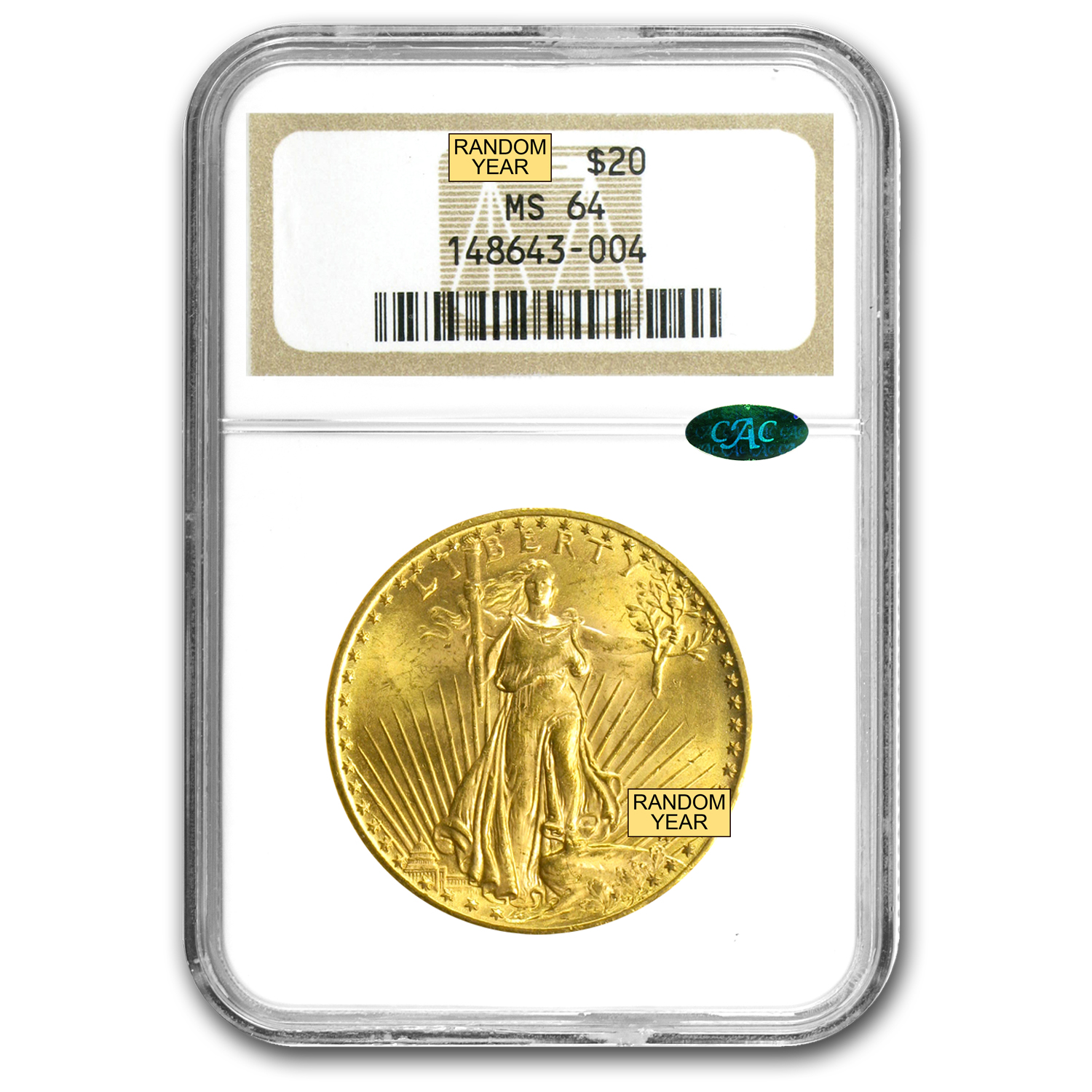 $20 Saint-Gaudens Gold Double Eagle MS-64 PCGS/NGC (CAC)