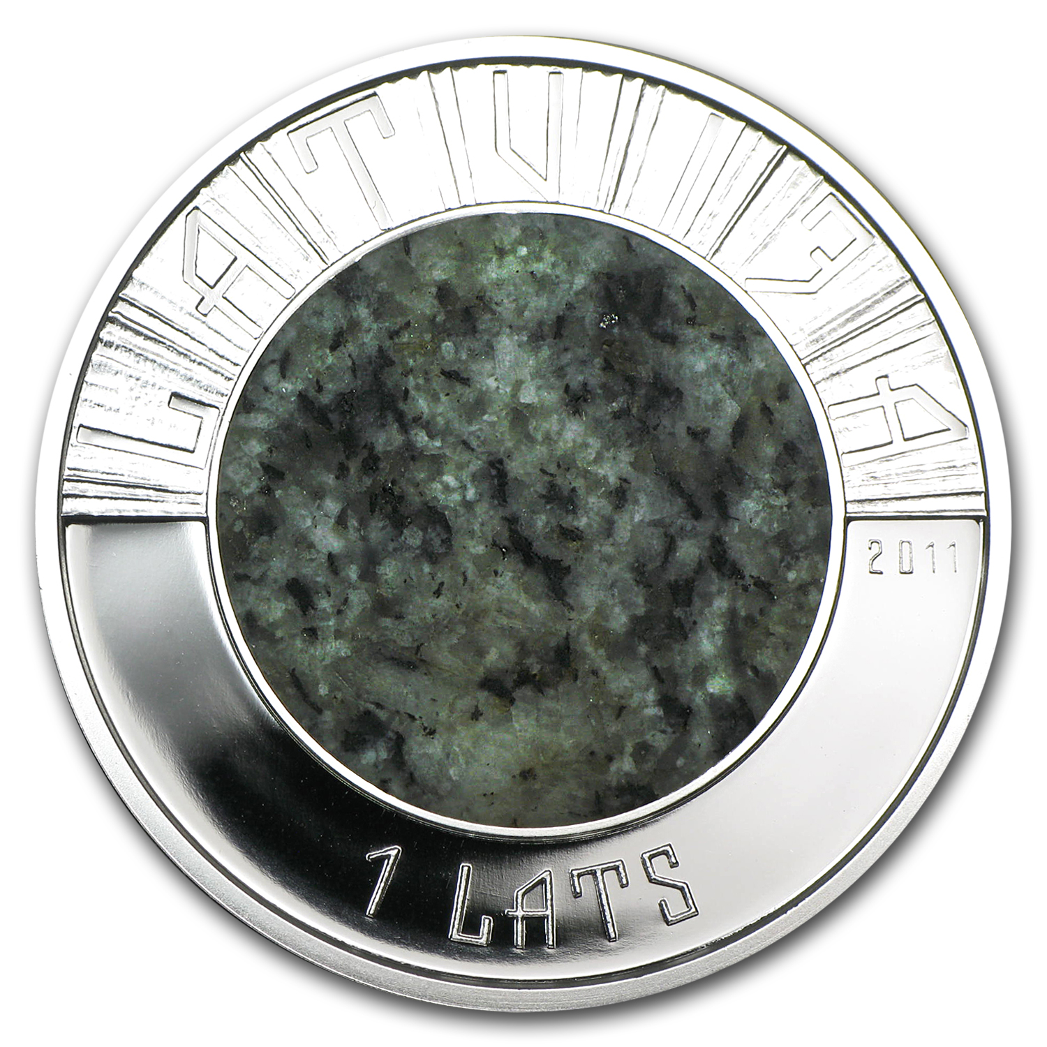 2011 Latvia Silver & Granite 1 Lats Proof