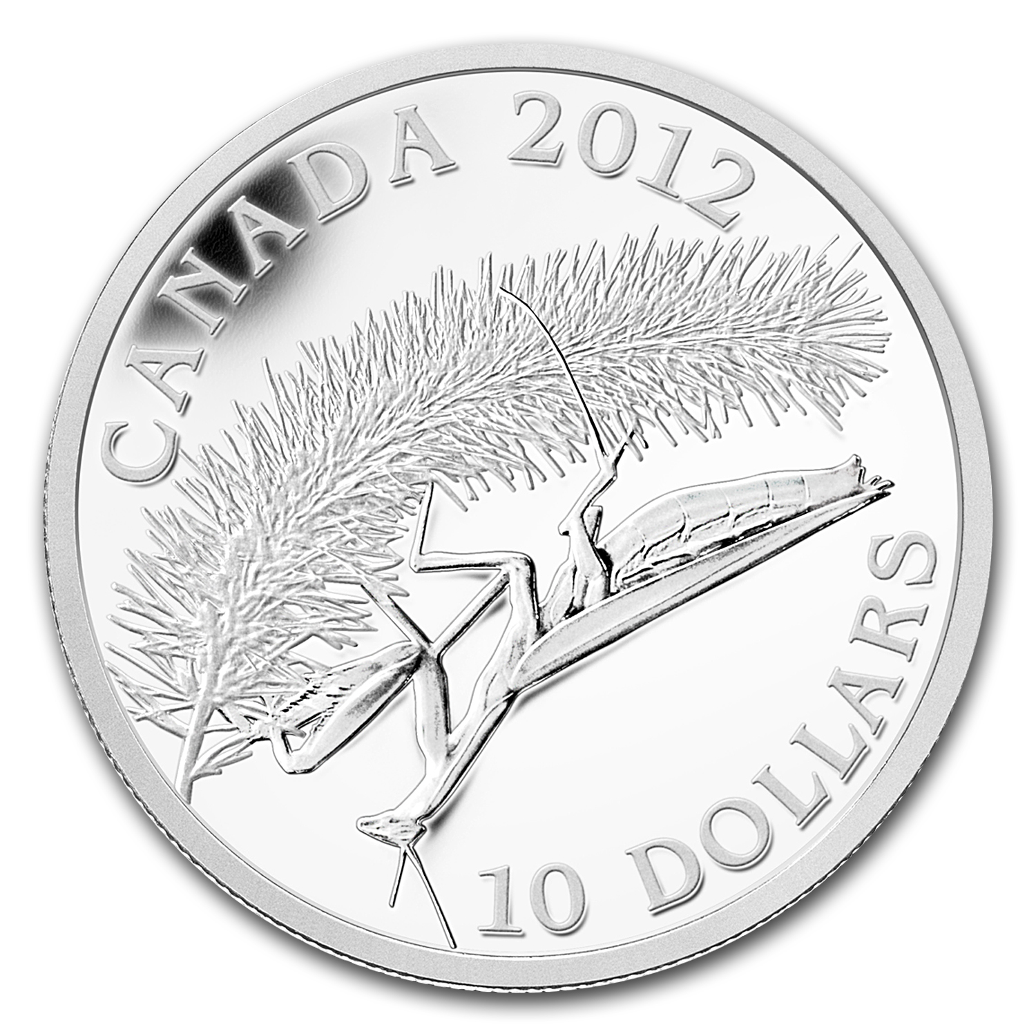 2012 Canada 1/2 oz Silver $10 Geographic Photo Praying Mantis