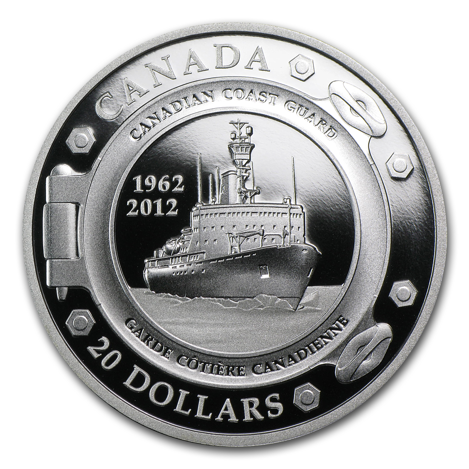 2012 1 oz Silver Canadian $20 50th Anniversary of Coast Guard
