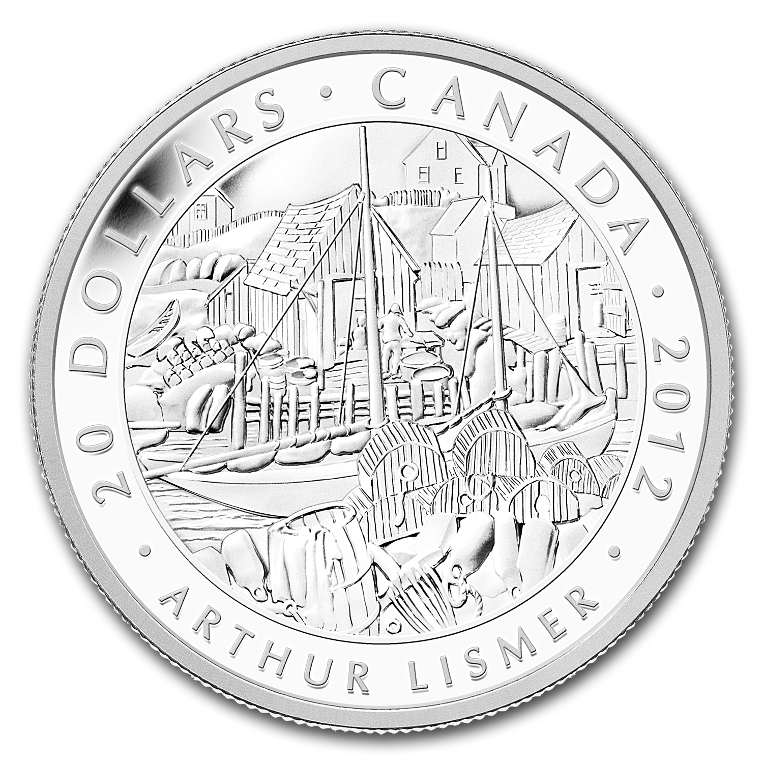 2012 1 oz Silver Canadian $20 Lismer, Nova Scotia Fishing Village