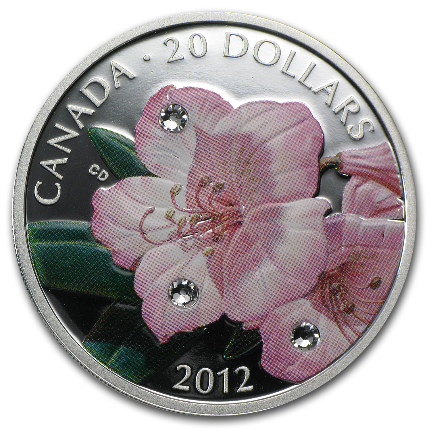 2012 Can 1 oz Silver $20 Rhododendron Flower Crystal Dewdrops