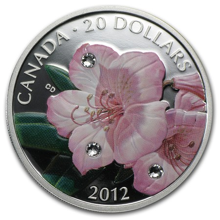 2012 Can 1 Oz Silver 20 Rhododendron Flower Crystal