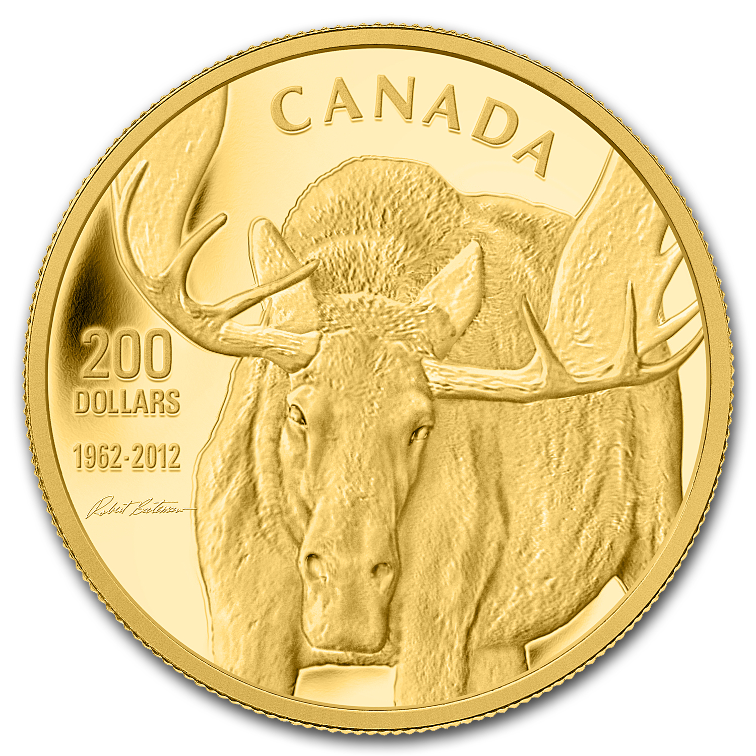 2012 1 oz Gold Canadian $200 Moose - Bateman's The Challenge