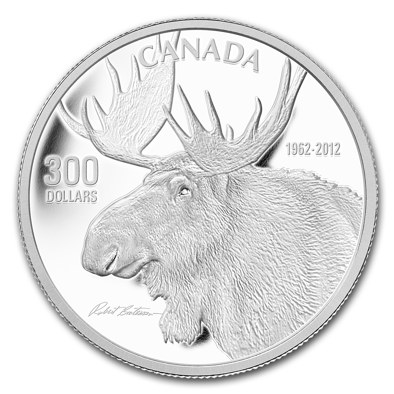 2012 1 oz Proof Platinum Canadian $300 Bateman's The Bull Moose