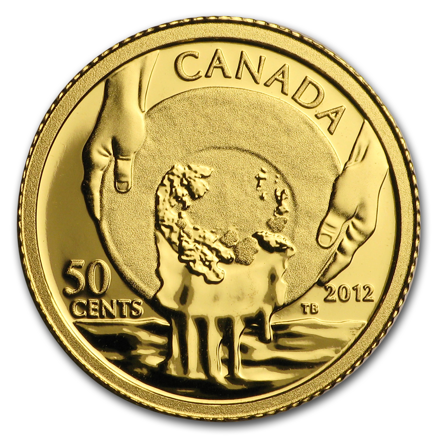 2012 1/25 oz Gold Canadian $0.50 - Cariboo Gold Rush