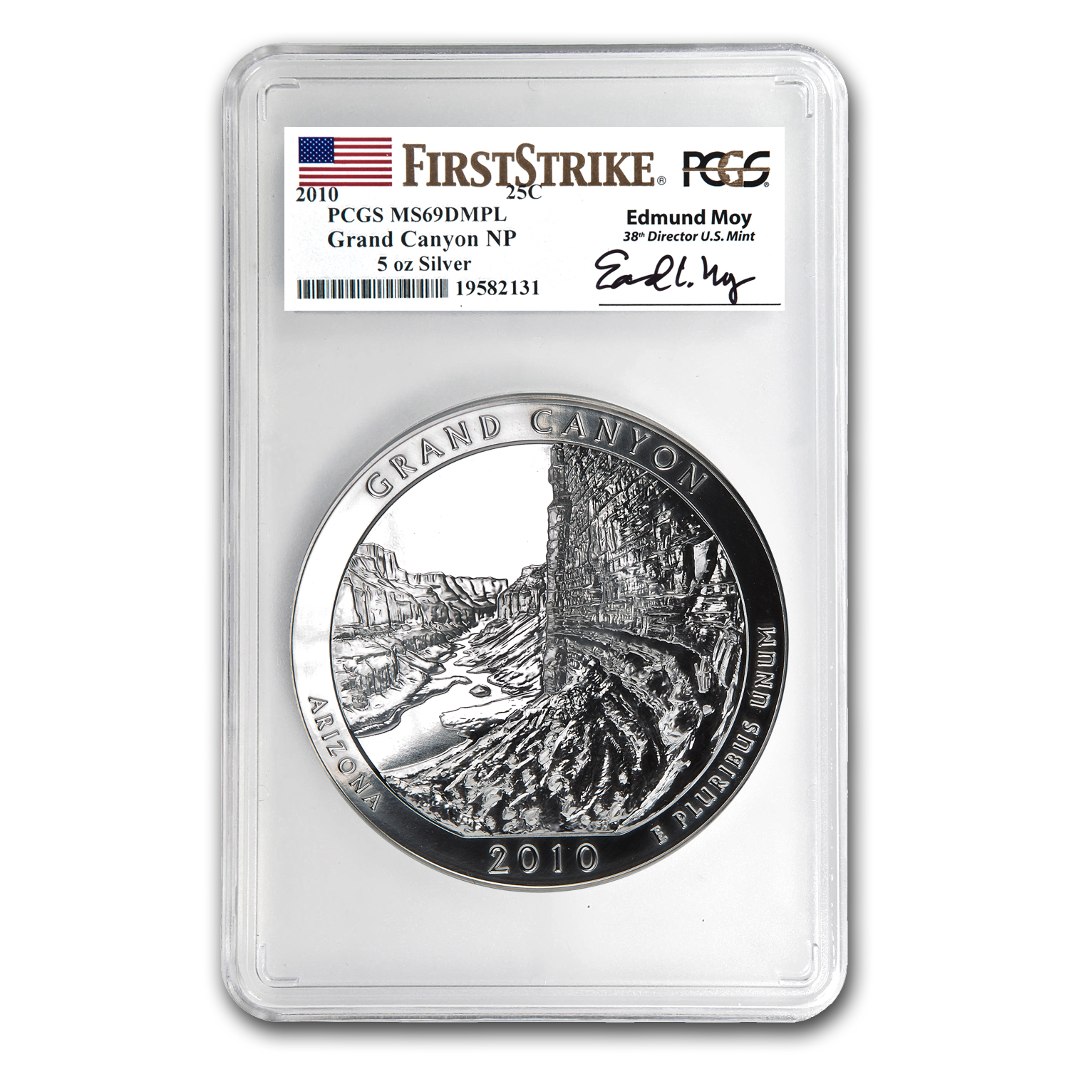 2010 5 oz Silver ATB Grand Canyon MS-69 DMPL PCGS (FS, Moy)