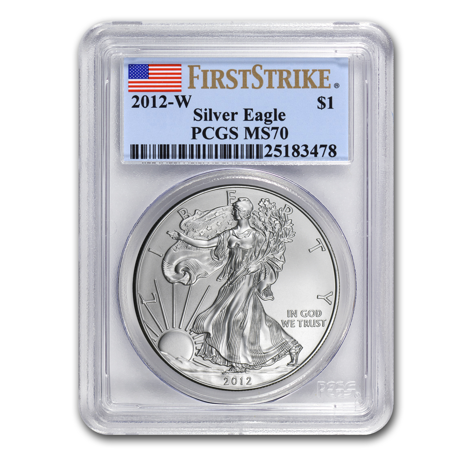 2012-W (Burnished) Silver American Eagle MS-70 PCGS (FS)