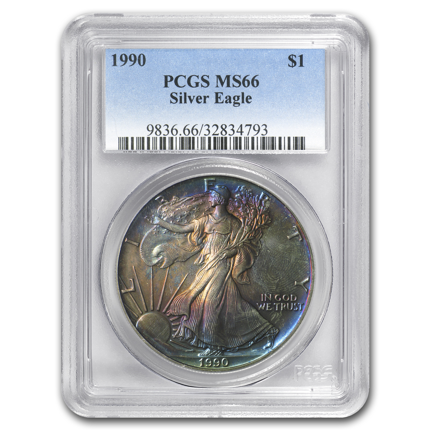 1990 Silver American Eagle MS-66 PCGS (Obv and Rev Toning)