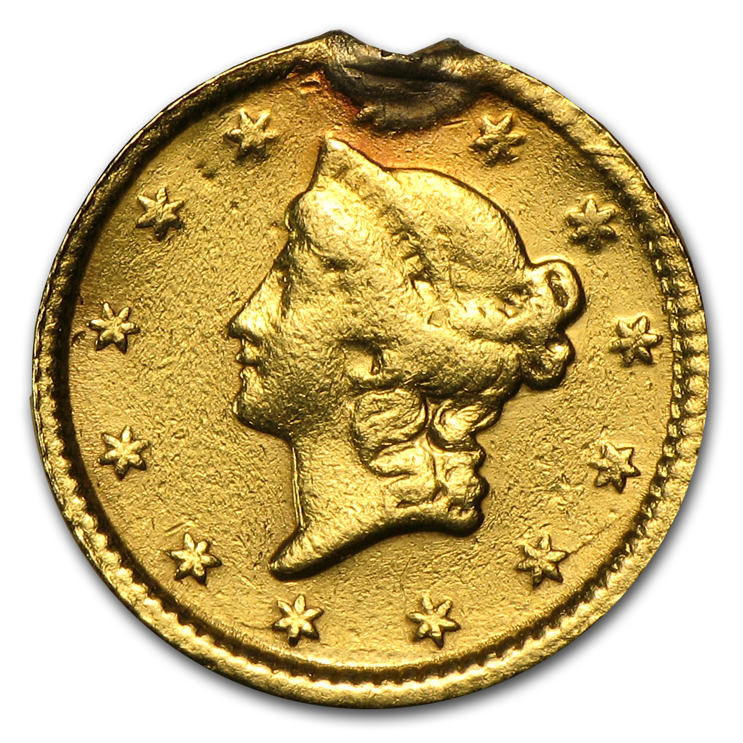 $1.00 Liberty Gold-Type I - No Date Love Token - Minnie
