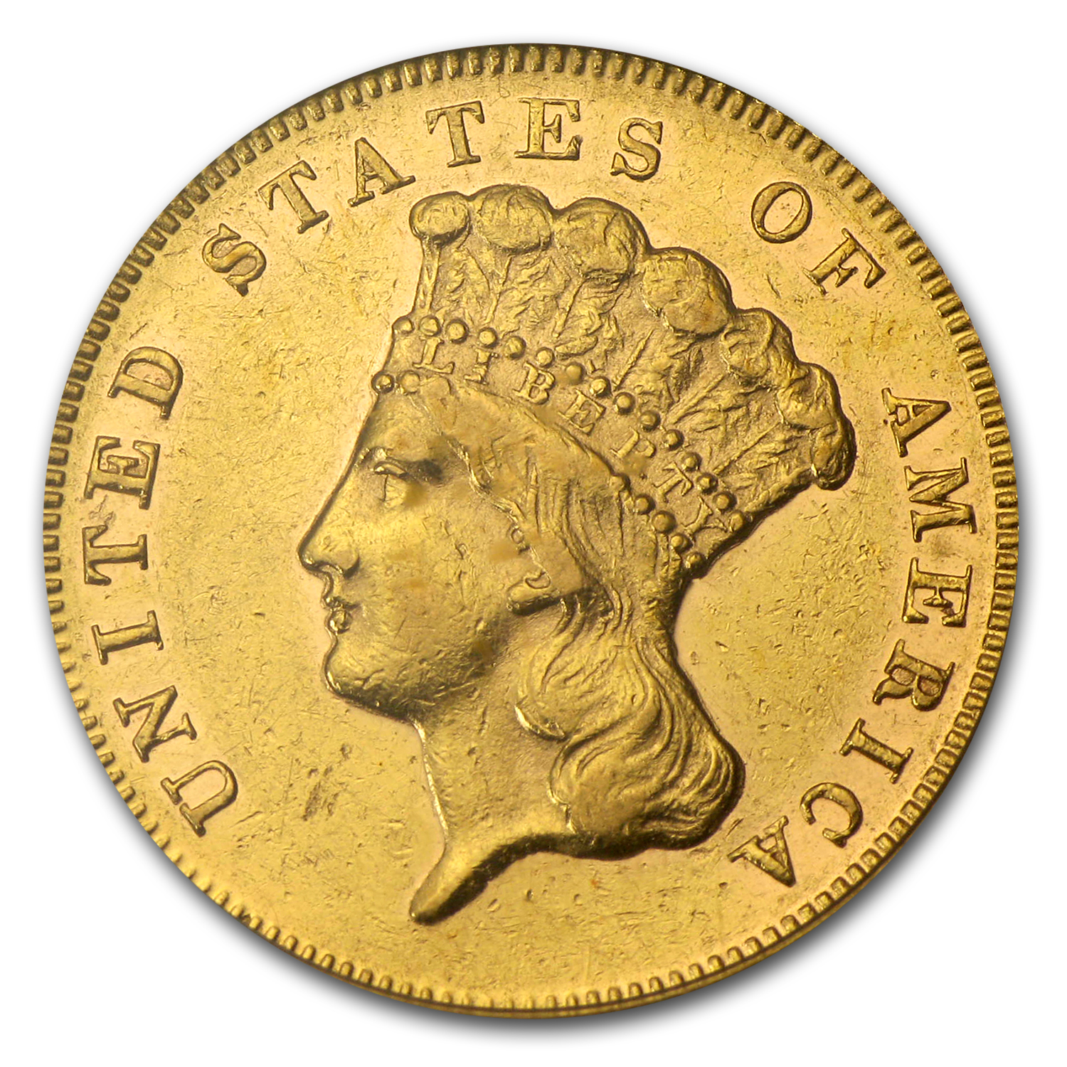 1870 $3 Gold Princess AU-50 PCGS