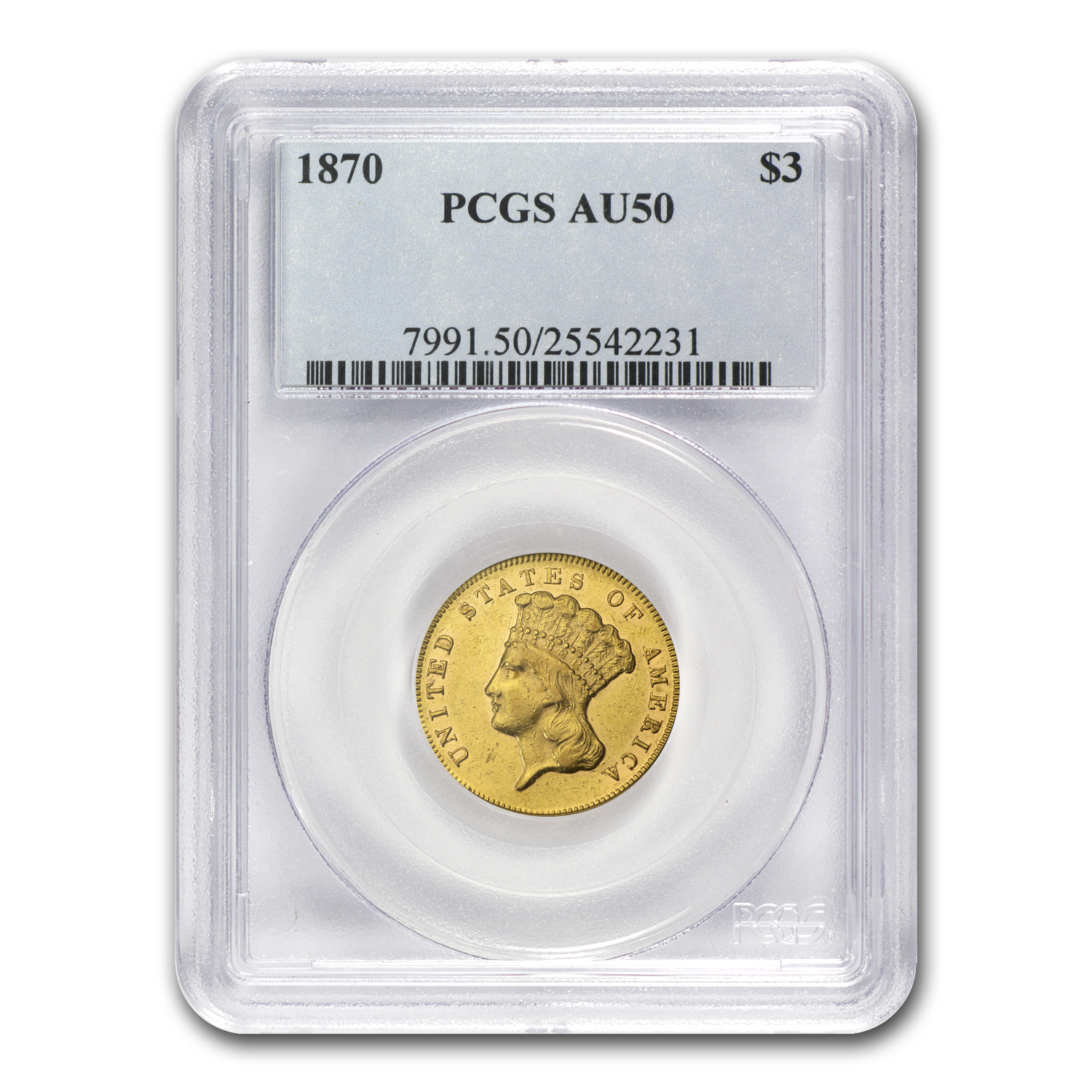 1870 $3 Gold Princess - AU-50 PCGS