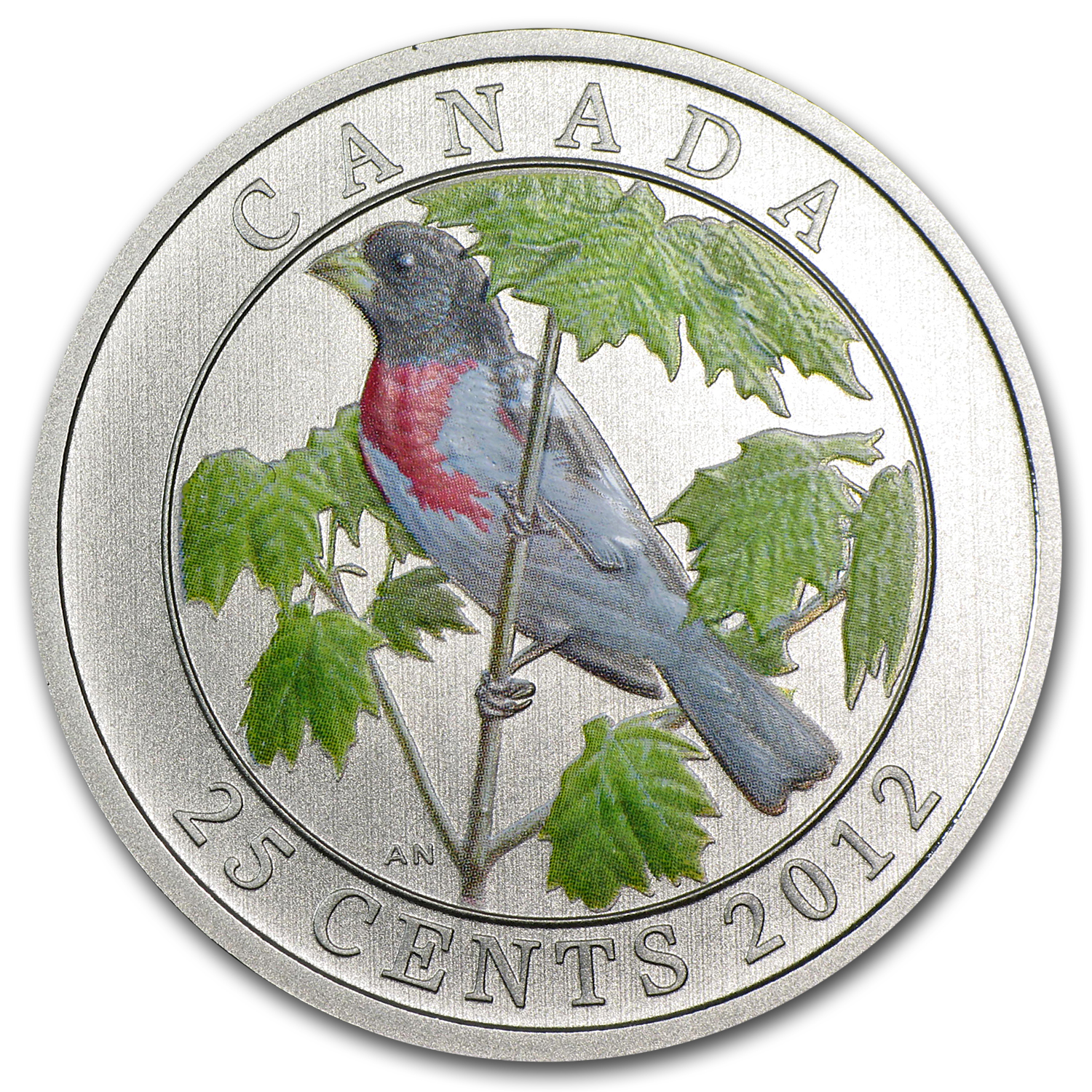 2012 Birds of Canada $0.25 Rose Breasted Grosbeak (Coloured)
