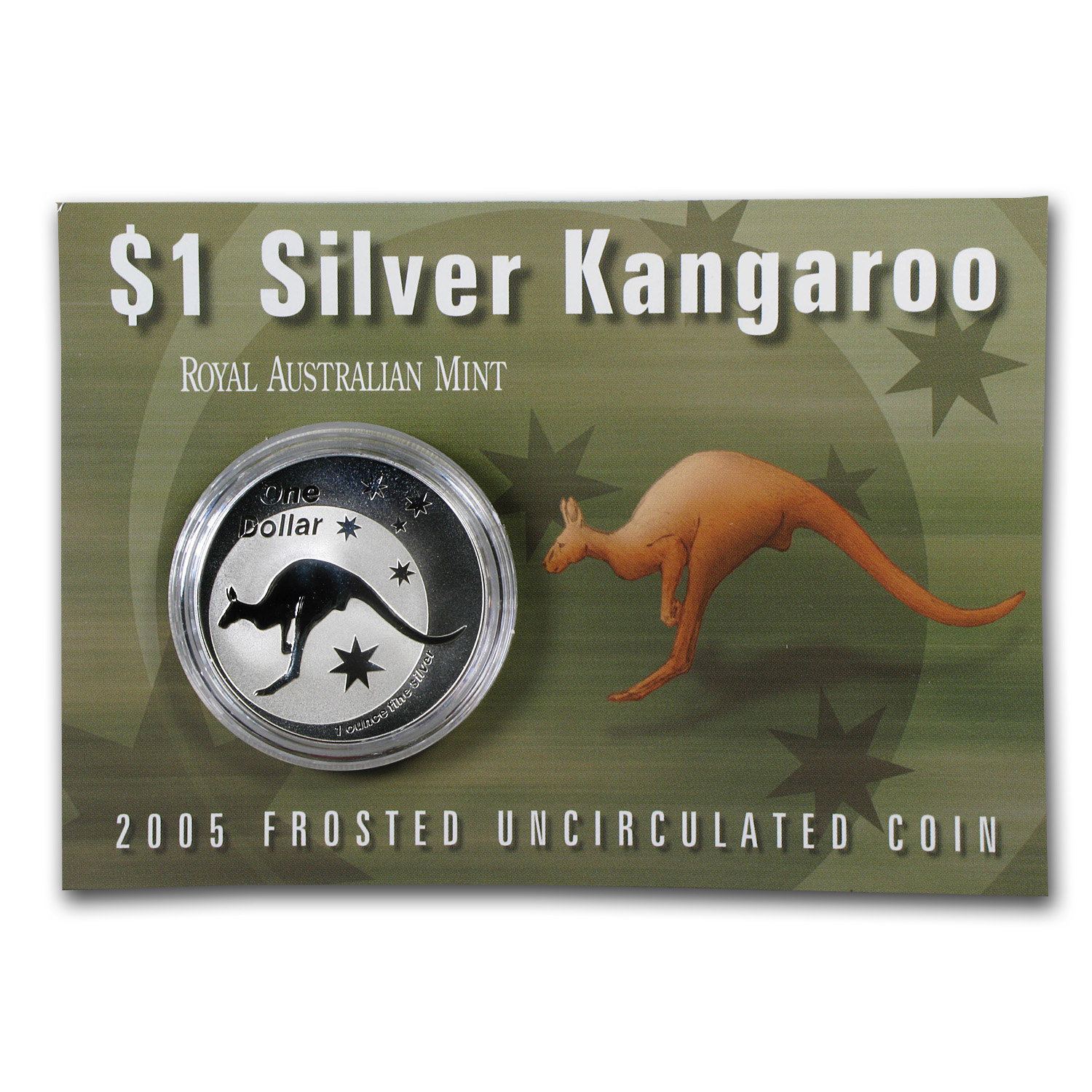 2005 Australia 1 oz Silver Kangaroo (In Display Card)