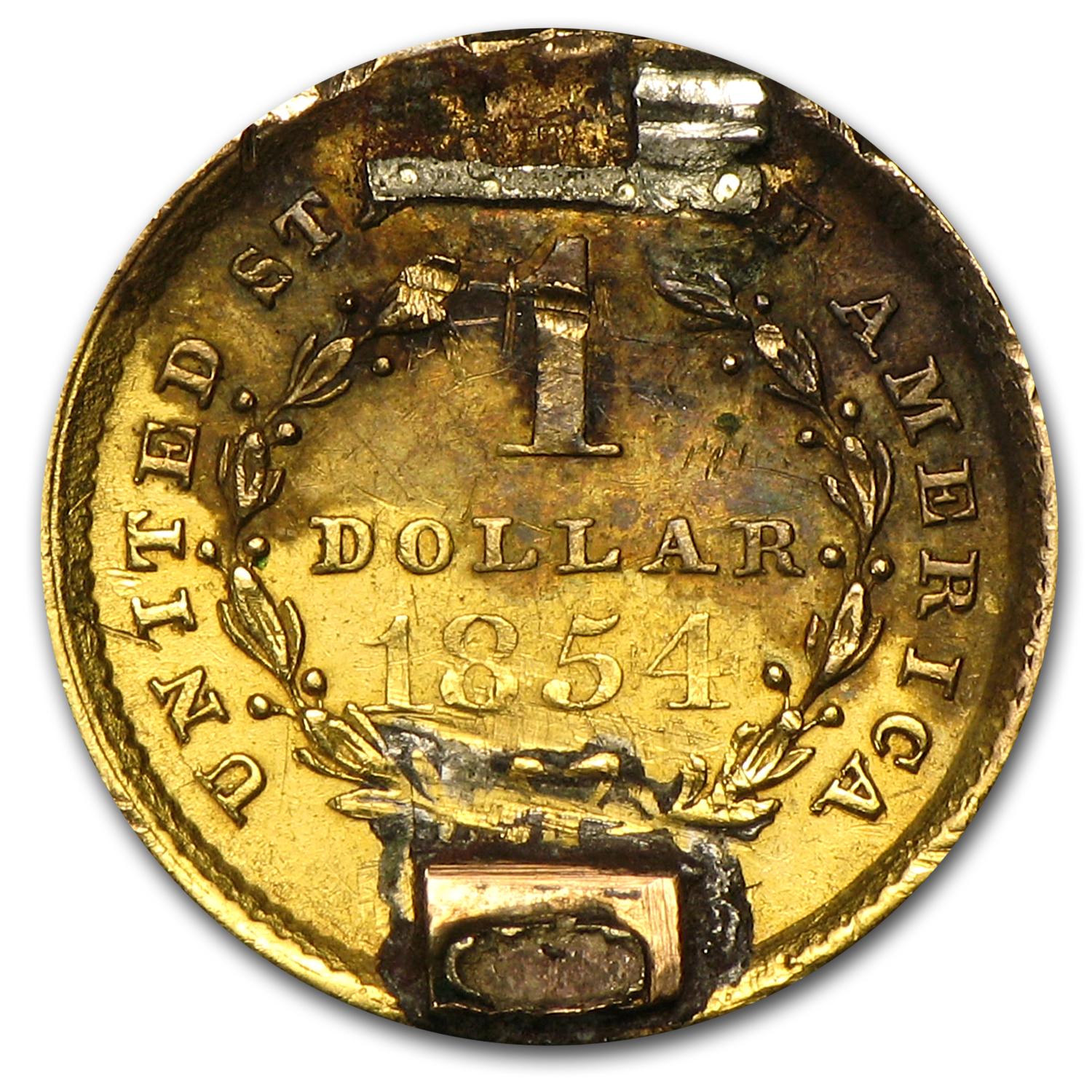 $1.00 Liberty Gold-Type I - 1854 Love Token - E H