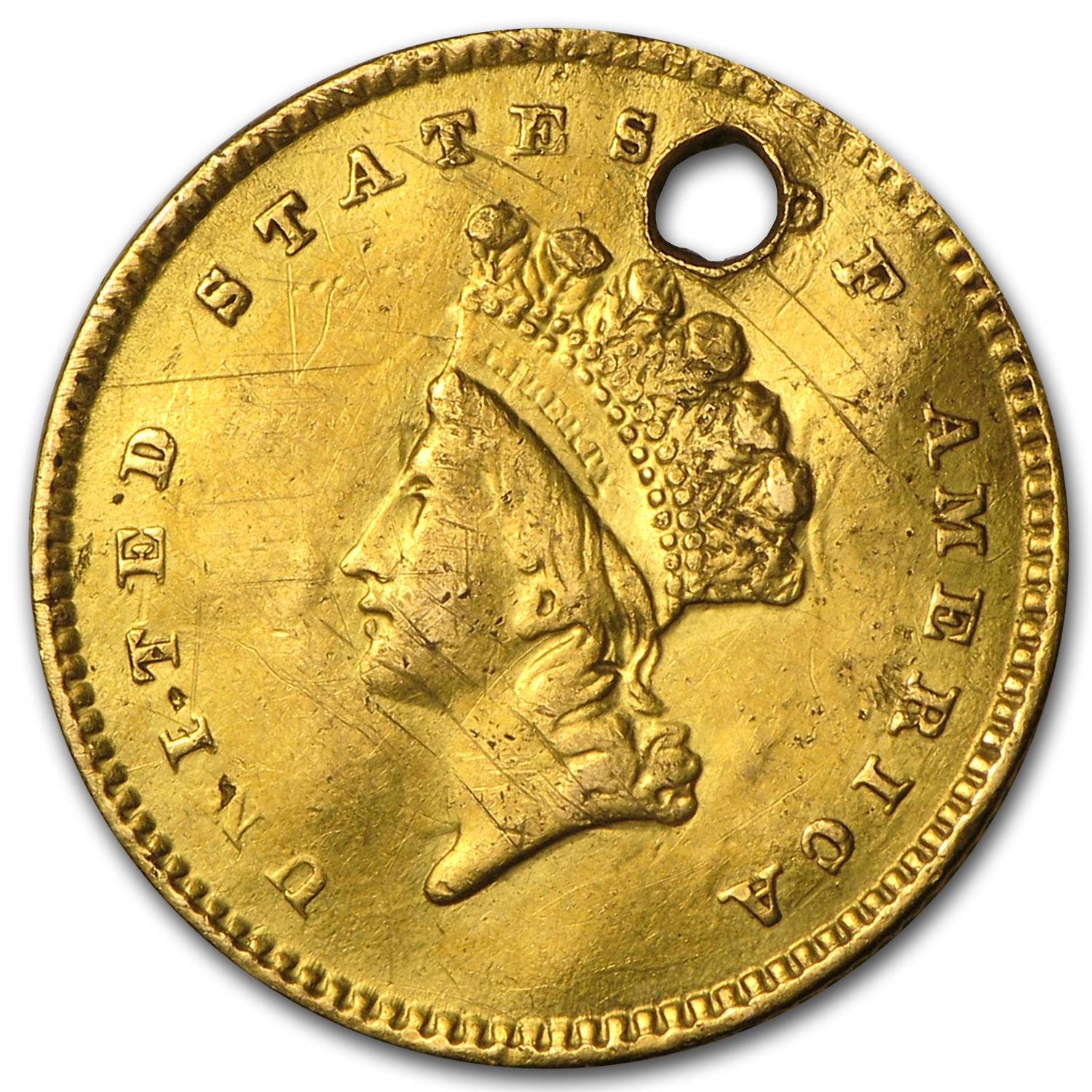 $1 Indian Head Gold - Type 2 - No Date Love Token - S E M