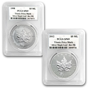 1998 & 2012 Titanic Privy Mark 1 oz Silver Maple Leafs SP-69 PCGS