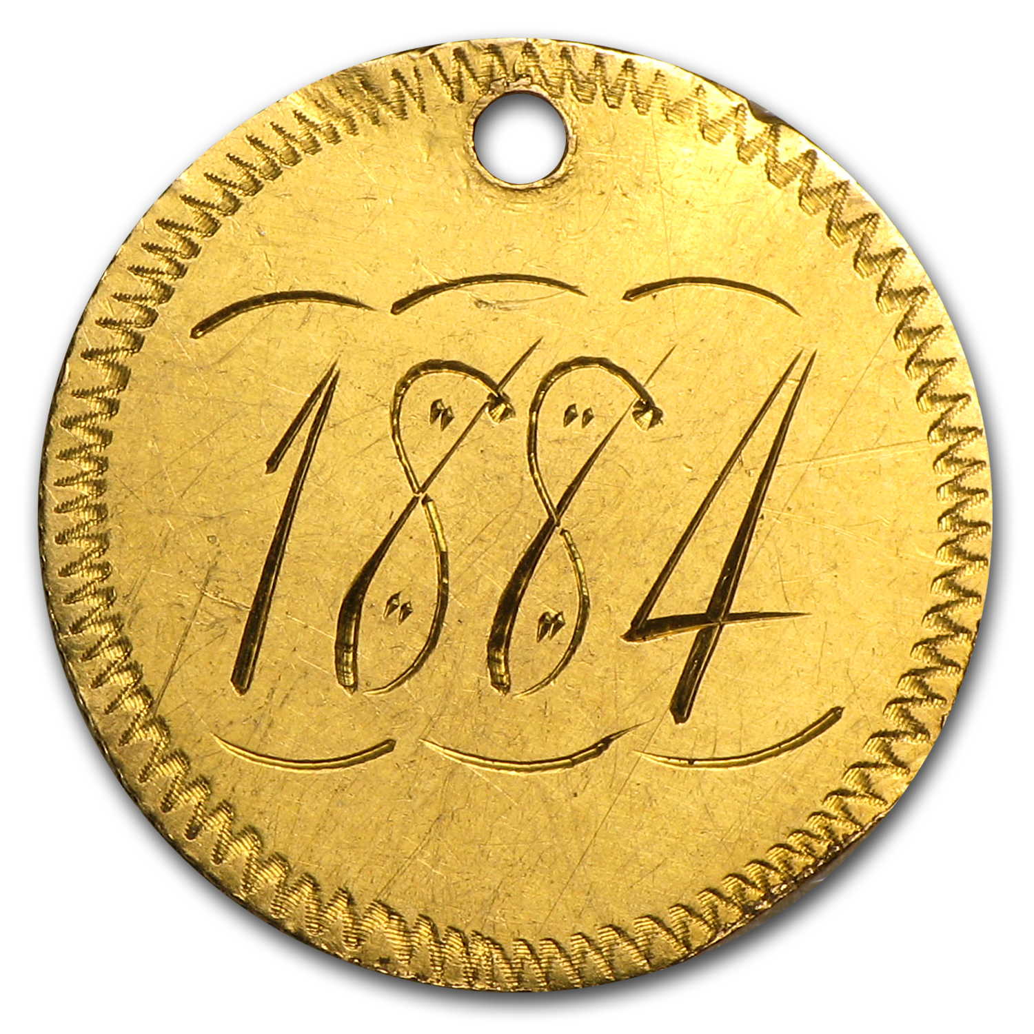 $1.00 Liberty Gold-Type III - No Date Love Token - 1 8 8 4