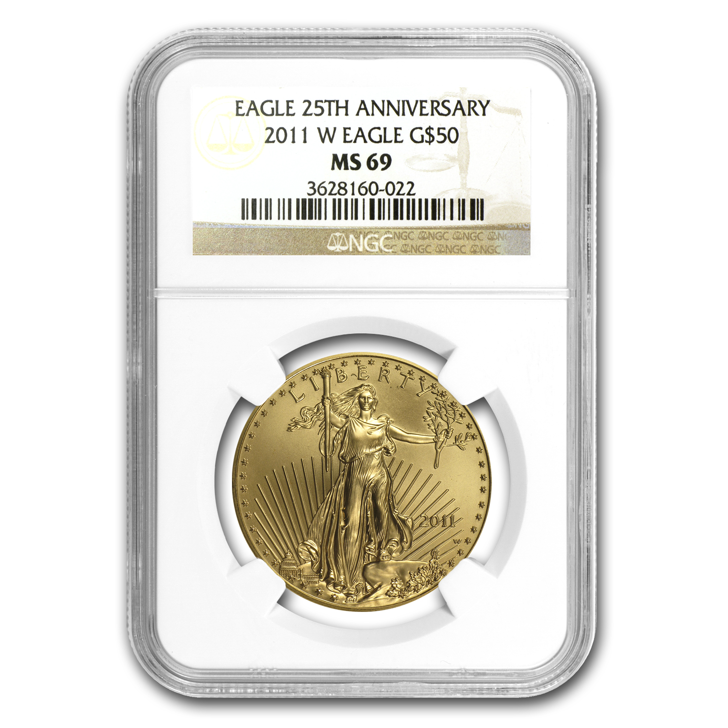 2011-W 1 oz Burnished Gold Eagle MS-69 NGC