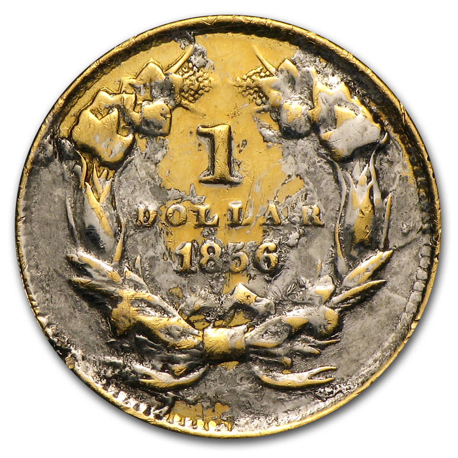 $1.00 Liberty Gold-Type III - 1856 Love Token - R C M