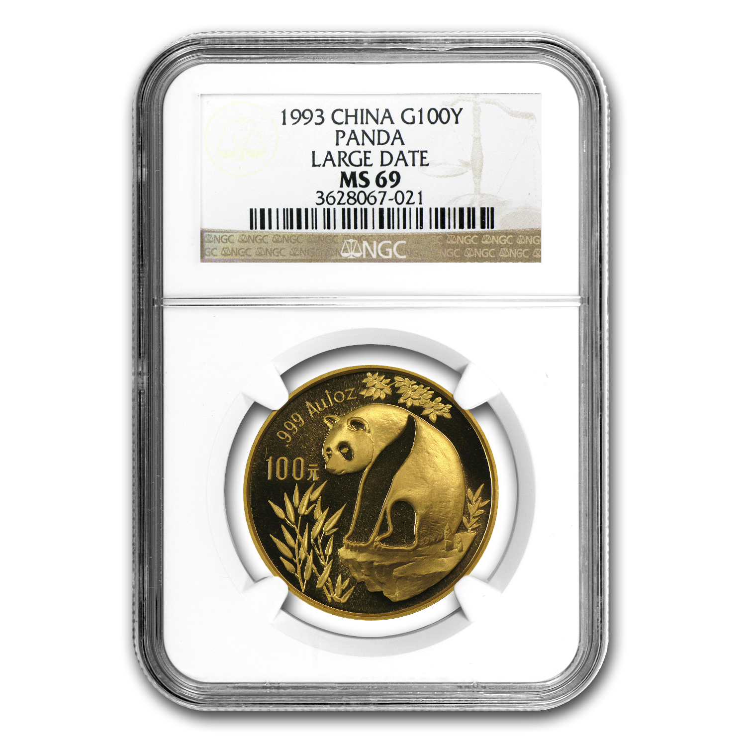 1993 1 oz Gold Chinese Panda Large Date MS-69 NGC