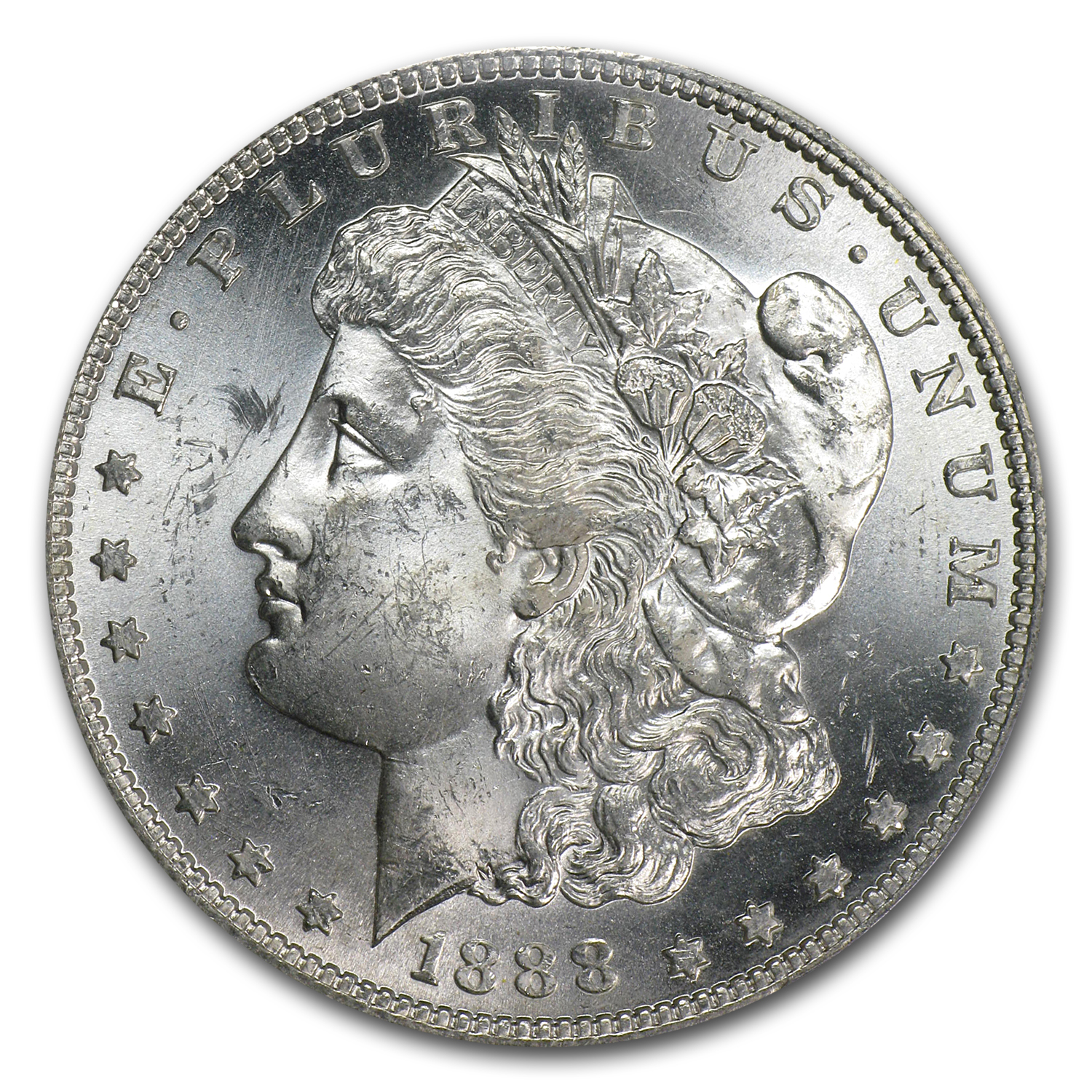 1888-S Morgan Dollar MS-63 PCGS (VAM-13, Gouged Eagle)