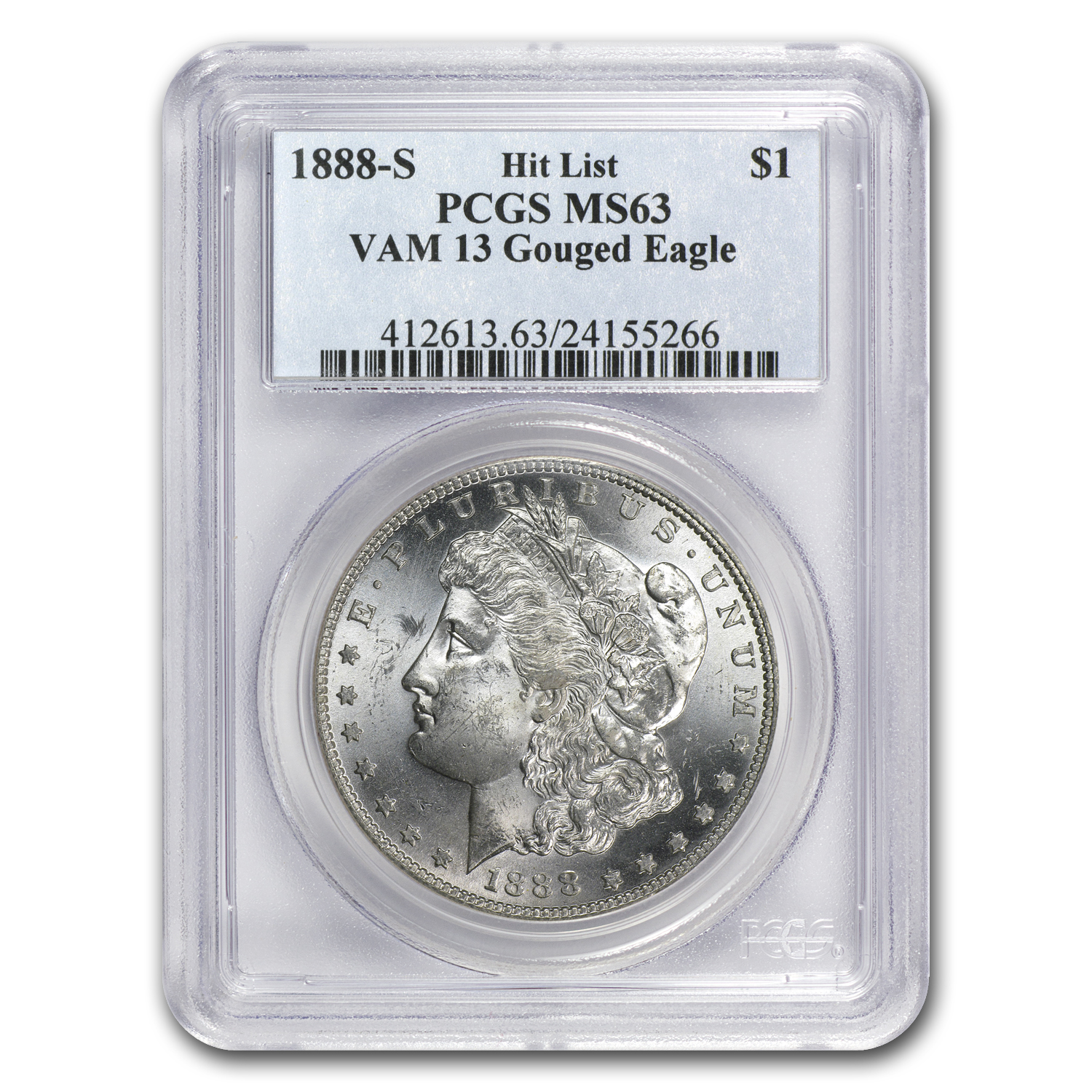 1888-S Morgan Dollar MS-63 PCGS VAM-13 Gouged Eagle Hit List-40