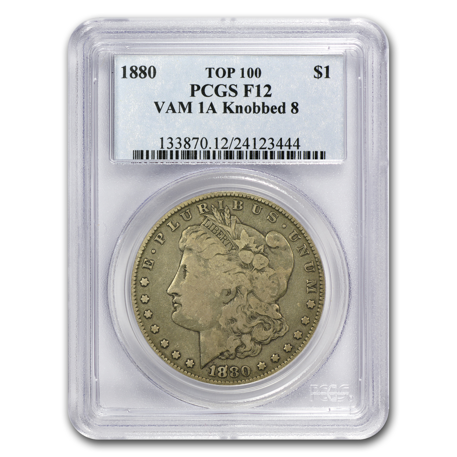1880 Morgan Dollar Fine-12 PCGS (VAM-1A, Knobbed 8, Top-100)