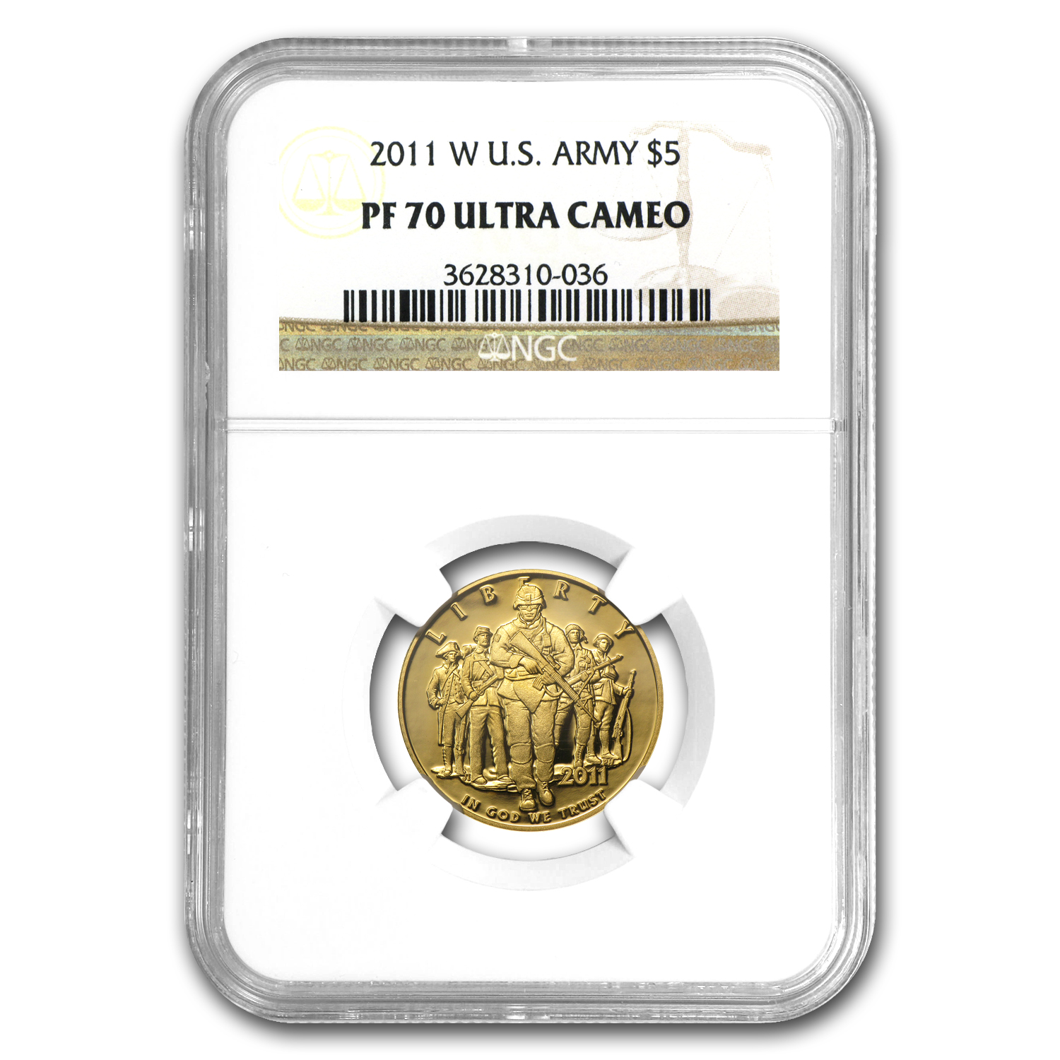 2011-W Gold $5 Commem Army PF-70 NGC